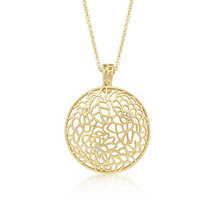 Matte Floral Filigree Pendant Necklace