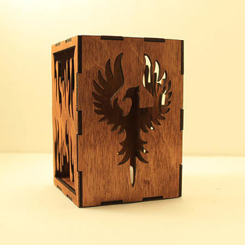 Phoenix tealight lantern Wood candle holder Shadow box Led flameless candle Laser cut candleholder Led light Night light Wood light Fantasy