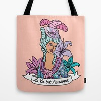 La Vie Est Awesome French Girly Glitter Sassy Feminist Pastel Kawaii Print Tote Bag by BigKidult | Society6