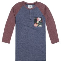 On The Byas Jared Colorblock Baseball T-Shirt - Mens Shirt - Blue