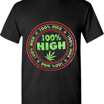 100% High Green Weed Leaf Marijuana 420 Solid Graphic T-Shirts