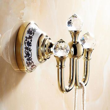 Classical Polish Brass Coat Hooks Luxury Ceramic Crystal Coat Hook Towel Hook Bathroom Accessories
