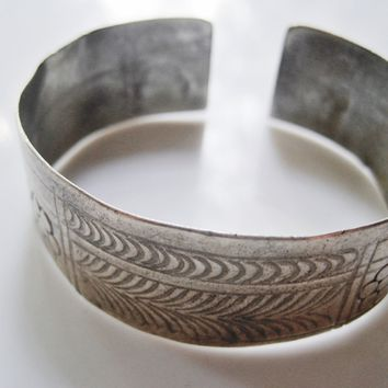 Vintage Berber Silver Cuff with Hand Etched Patterns