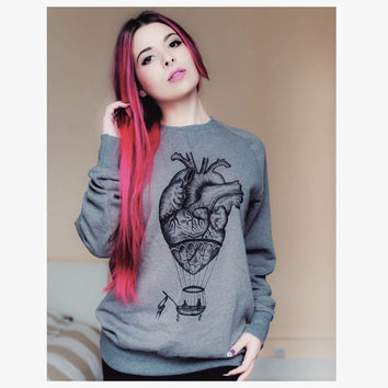 WOMENS / unisex SWEATSHIRT anatomical heart / hot air balloon. Screen print , sweatshirt for him / her. Handmade vintage tattoo illustration