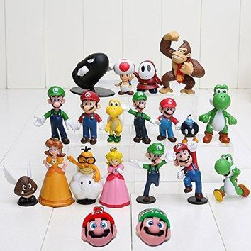 WanPro Super Mario Brothers Action Figures Set (18 Piece) and Keychains (2 Piece)