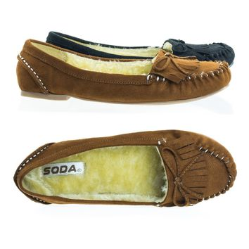 Parry Winter Flat Loafer Moccasin w Faux Fur Inner Lining