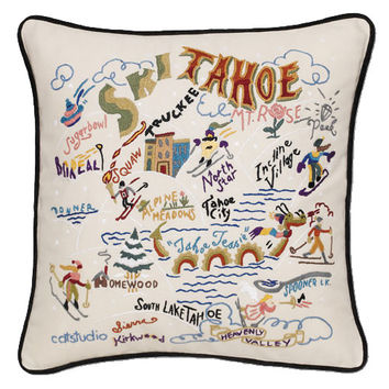 Ski Tahoe Hand Embroidered Pillow