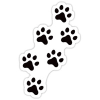 'Animal track sticker with black paw prints' Sticker by Mhea