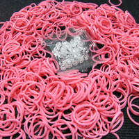500 Ct. Pink Rainbow Loom Band Refill+24 S-clips - Loom Band Refill Loom Bands Jewelry Supply Kids Craft Supply Craft Supplies Jewelry Craft