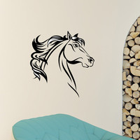 Horse Wall Decal Horse Head Wild Animals Wall Decals Murals Vinyl Stickers Living Room Bedroom Kids Nursery Baby Room Art Home Decor Z860