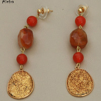 Sun-dried apricots in honey-original design jewellery, agate druzy&carnelian handmade beaded earrings, semiprecious stones,natural gemstones