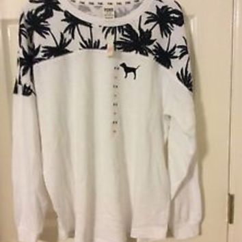 PINK VICTORIA'S SECRET VARSITY CREW WHITE SIZE MEDIUM NEW PRICE REDUCED