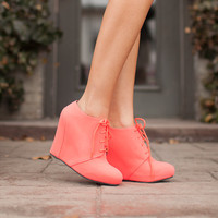 Sway Me Neon Coral Wedges CLEARANCE