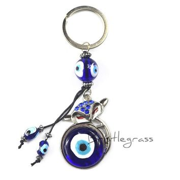 BRISTLEGRASS Turkish Blue Evil Eye Rhinestone Fox Keychain Key Chain Ring Holder Lucky Charm Hanging Pendant Blessing Protection