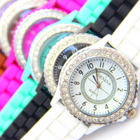 Hot! Fashion Ladies GENEVA Watch Classic Crystal Silicone