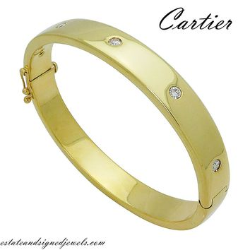 Cartier 18k Yellow Gold Roud Brilliant Diamond Bangle Bracelet D1015