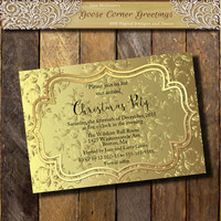 Christmas Party Invitations-Printable Gold or Silver Damask invitation-Holiday Invitations-New Years Invite-Holiday invite Hanukkah