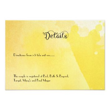 Yellow Watercolor Fairytale Wedding Details Card