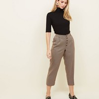Brown Houndstooth Check Tapered Trousers | New Look