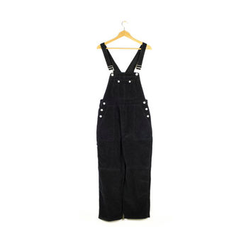 90s black corduroy overalls - vintage 1990s - full length - adult medium