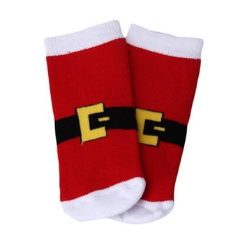 Christmas Kids Baby Girls Cute Satan Claus Deer Striped Hosiery Stocking
