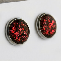 Ruby Red Glitter Post Earrings in Silver - Red and Black Small and Large Hexagonal Glitter Stud Earrings