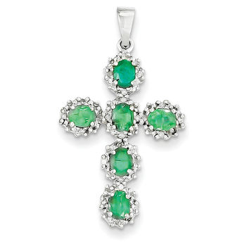 14k White Gold Diamond & Emerald Cross Pendant XP2400E/A