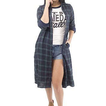 Women's Navy Plaid Collar Button Down Duster