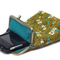 IPhone 5 Case / Fabric Case - Olive Green Corduroy with small flowers - Antique Bronze Frame