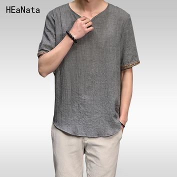 2018 Summer Men Cotton Linen Short Sleeve T Shirt Summer Thin Fabric Chinese Traditional Clothes Male Retro t-Shirt Male 5XL