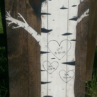 Custom Vertical Birch Tree Pallet Sign - Personalized Wooden Birch Tree Sign with Initals - Custom Rustic Sign