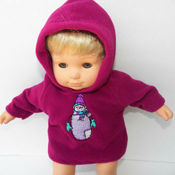 """American Girl Bitty Baby Clothes 15"""" Doll Clothes Purple Pink Magents Hooded Snowman Jacket Hoodie"""