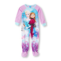 Long Sleeve Frozen Anna, Elsa And Olaf Blanket Sleeper | The Children's Place