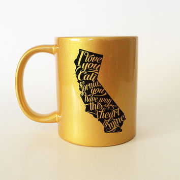 California Coffee Mug, California Gift, California Mug, California, I love California, Gold Mug, Typography, Typography Mug, Black and Gold