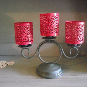 upcyled Smokey Gray and Hot PINK Centerpiece ~ Wedding ~ Pop of color ~ 3 Arm Candelabra