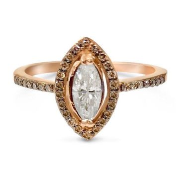 Luxinelle Marquise Diamond Halo Engagement Ring in 14K Rose Gold by Luxinelle®Jewelry