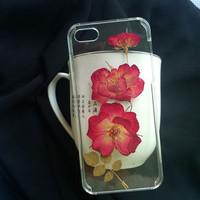 Preesed flower iphone case for iphone 5 iphone 5s iphone 5c iphone 4 iphone 4s large red flower phone case