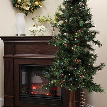 5' Pre-Lit Woodland Alpine Artificial Christmas Tree - Multi Lights