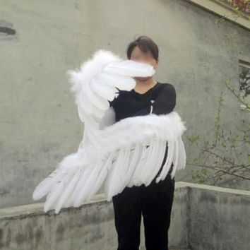 Bendable Unique Sexy White Large Angel Feather Wings Adult Cosplay Costume
