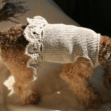 Dog Dress| Chihuahua dress | Ivory dog vest | Pet Clothing | Hand Knit Dog Clothes by BubaDog