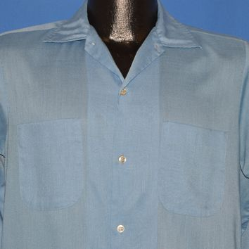 60s Light Blue Square Bottom Button Down Shirt Small