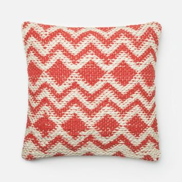 Loloi Coral / Grey Decorative Throw Pillow (P0185)