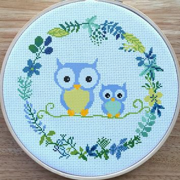 Modern Owl Cross Stitch Pattern, Nursery Owl Cross Stitch