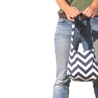 Navy chevron hobo bag. Choose medium or large purse and shoulder or cross body bag strap. Design your own choose solid interior.