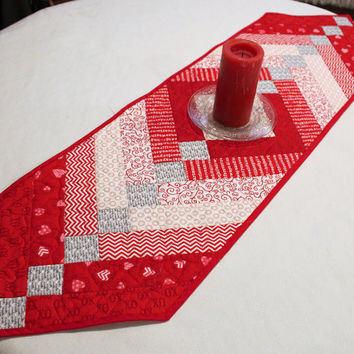 Valentine Quilted Table Runner, Hearts French Braid Table Topper, Red and White Valentine's Day Quilt