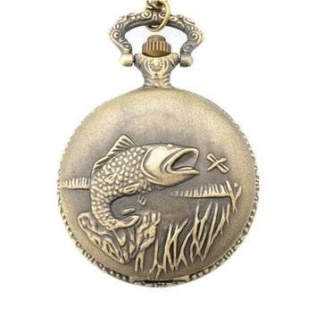 Fishing Fish Pocket Watch Relogio Masculino Relogio De Bolso