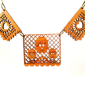 Bamboo Papel Picado Banner Necklace- Hearts and Skulls