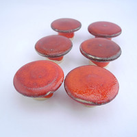 Red Door Pulls, Round Knobs, Drawer Pulls, Cabinet Handles,  Handmade Ceramics for Home Improvements