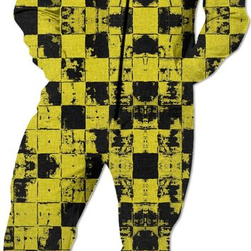 Yellow and black grunge style squares, tiles pattern Onesuit, worn out look, chequered pajama
