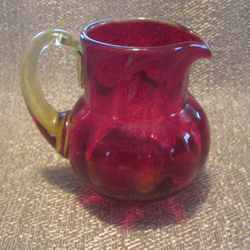 Vintage Red Glass Pitcher, Mini Art Glass Pitcher, Collectible Miniature Hand Blown Rough Pontil, Attached Amber Handle, Amberina
